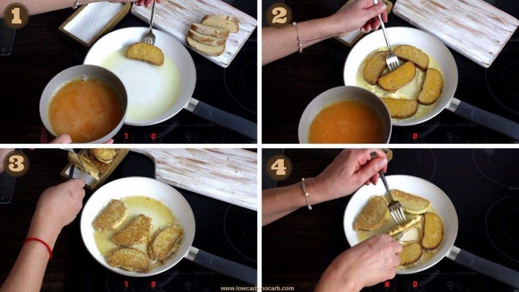 Oat Fiber Eggy Bread Recipe adding bread into the pan