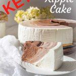 Yogurt Keto Cheesecake Cut with Dalgona Coffee in the background