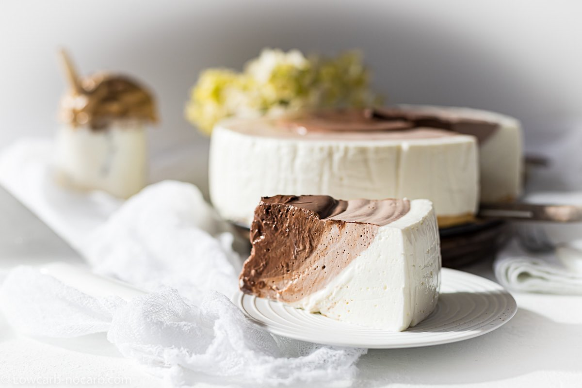 No Bake Keto Cheesecake piece on a plate