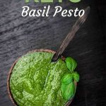 Basil Pesto in the dark wooden bowl