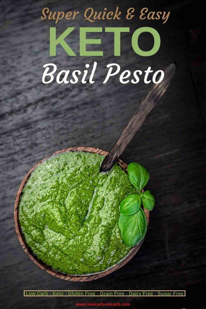 Basil Pesto in the dark wooden bowl