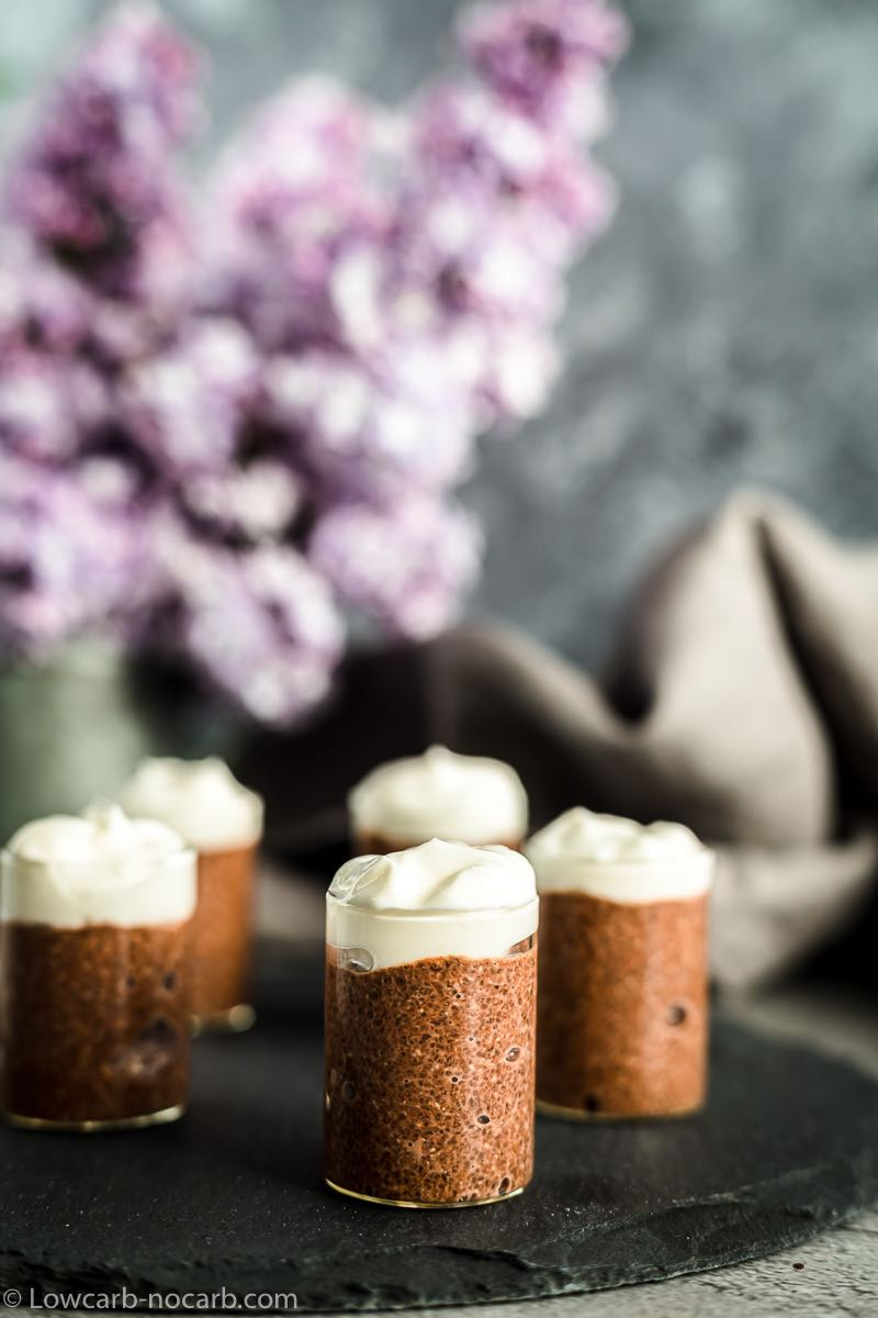 Chocolate Pudding Chia in a single shot glasses