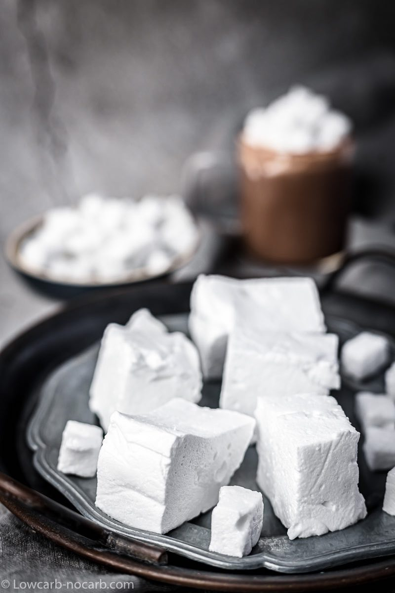 Keto Marshmallows on a metal plate