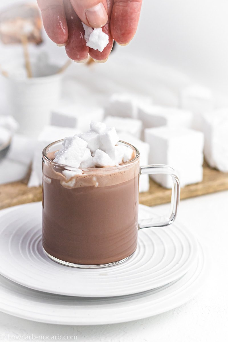 Sugar-Free Marshmallows for roasting on a hot chocolate cup