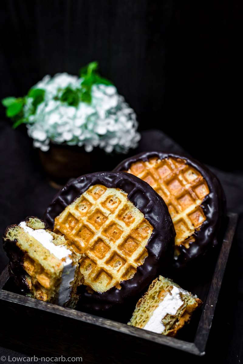 Keto Chaffle Smores with chocolate coating