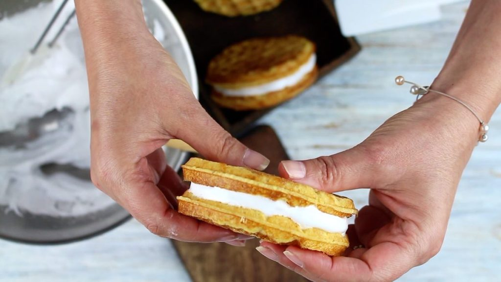 Keto Chaffle Smores pressing on each to hold