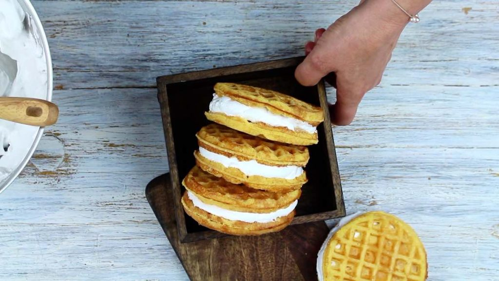 Keto Camping Recipe chaffles in a wooden box