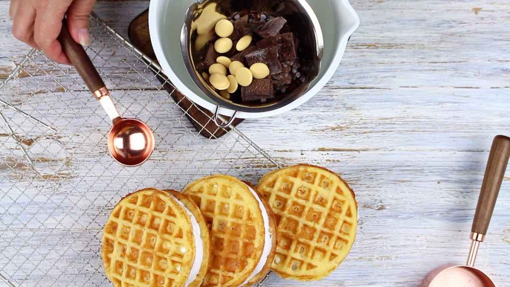 desserts on keto making of chaffles with marshmallows