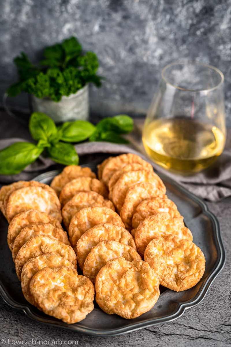 Keto Cloud Egg Crisps with wine