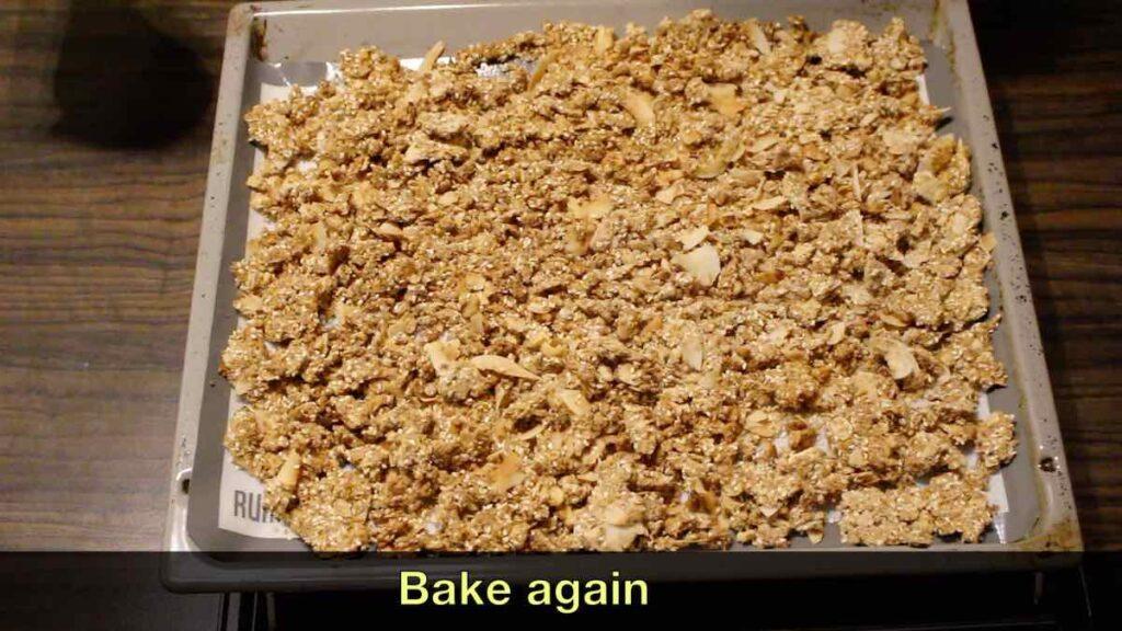Keto Granola Recipe on a baking sheet for second bake