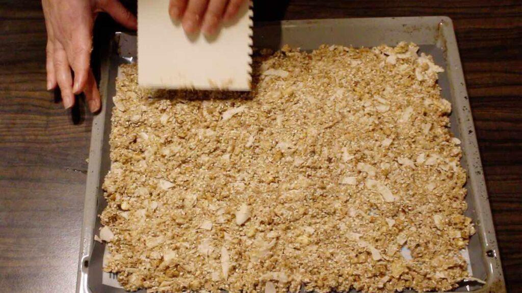 Easy Keto Granola Recipe cut into pieces