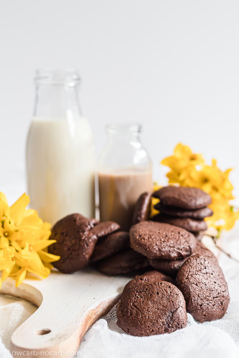 4 Ingredients Keto Nutella Cookies with Milk bottles