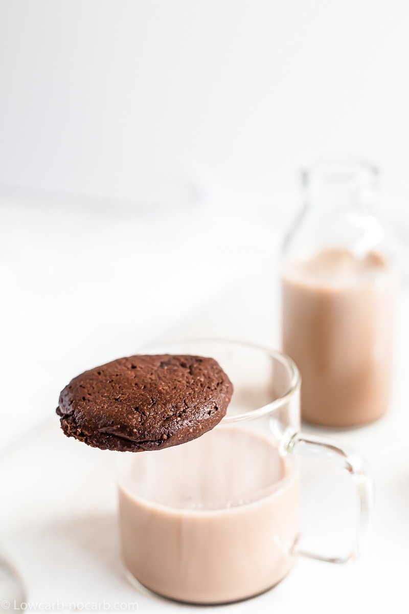 Homemade Keto Nutella Cookie on a milk glass