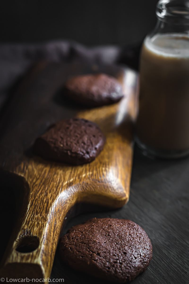 Simple Sugar-Free Nutella Cookies on a wooden board