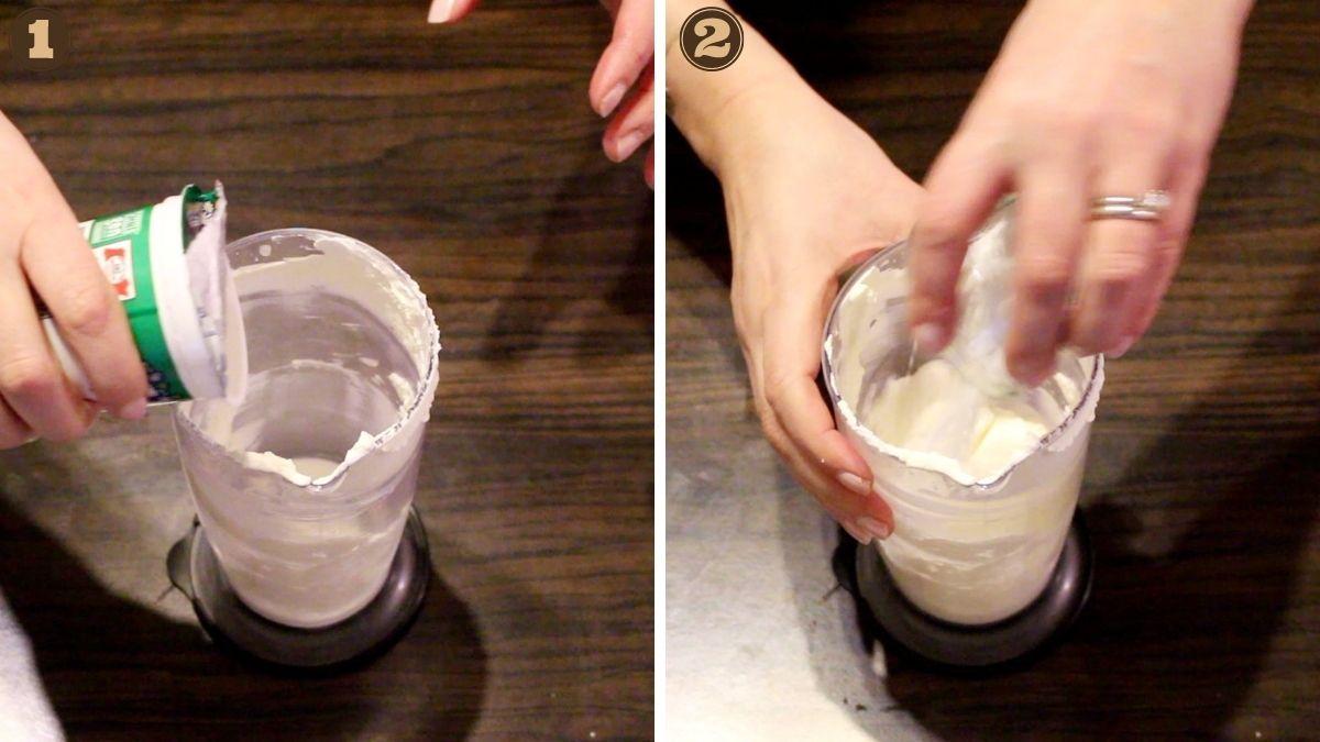 Birds Milk Keto Cake mixing sour cream and sugar sub