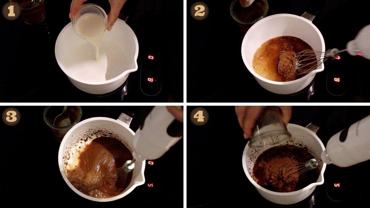 Keto Ptichye Moloko heating up the chocolate layer