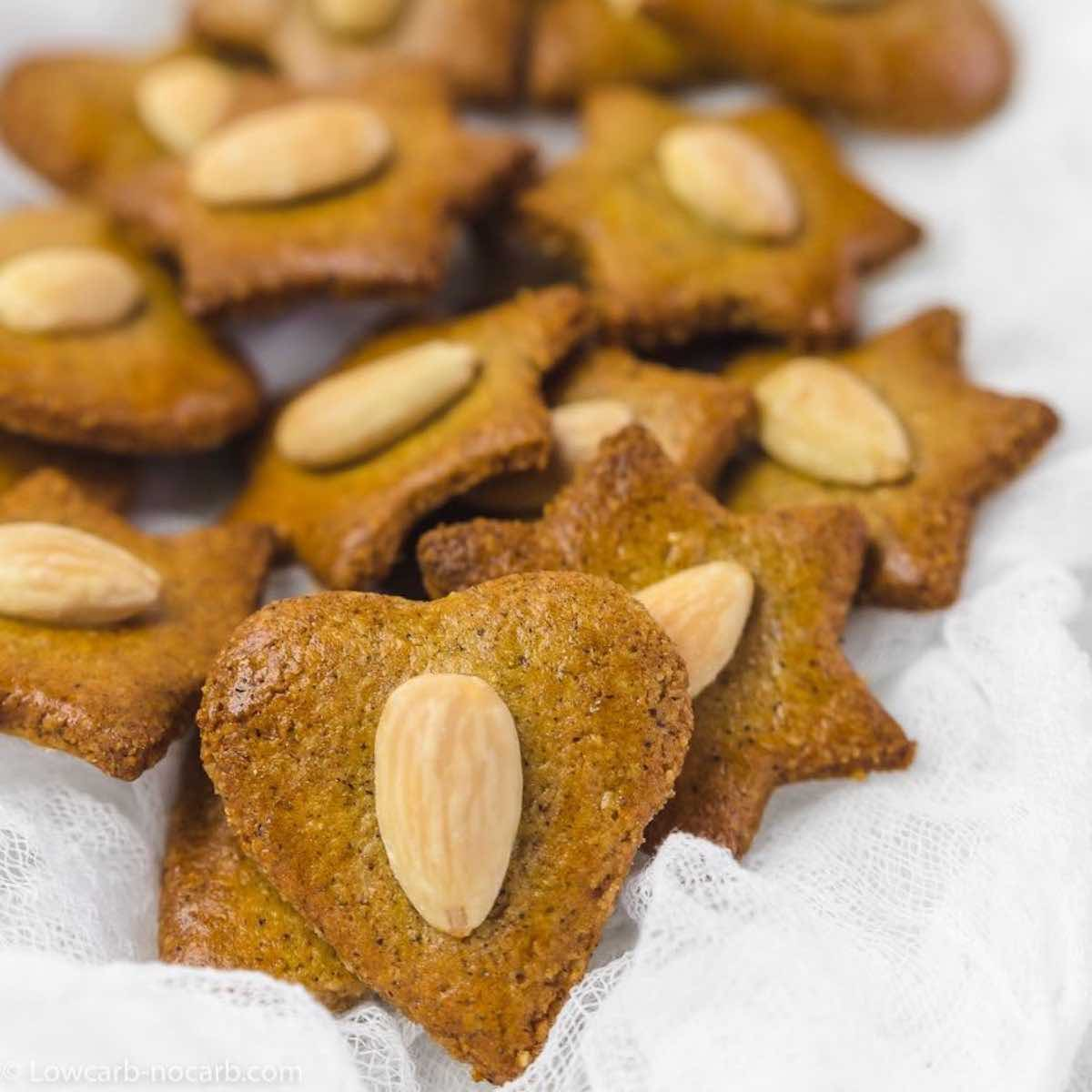 Keto Christmas Cookies with almonds as deco