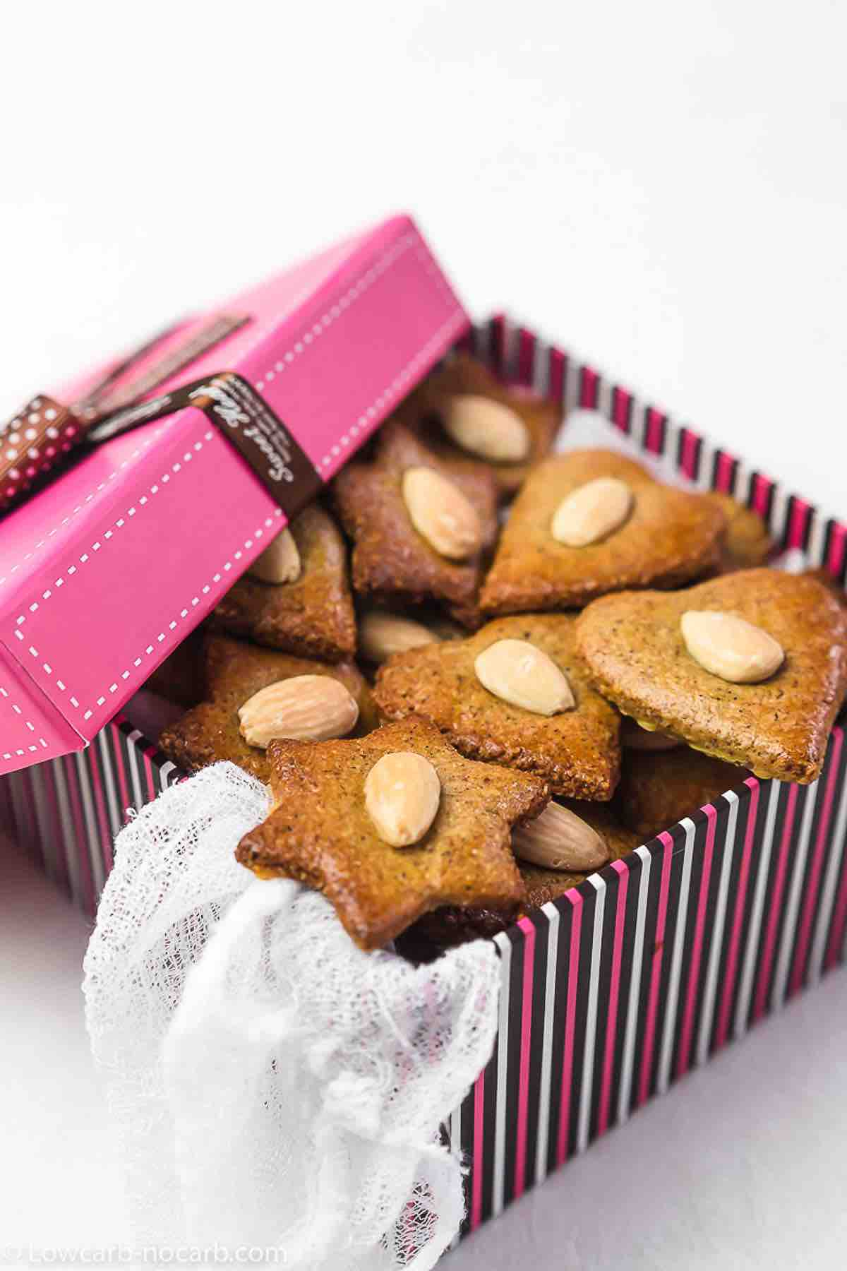 Valentines Sugar-Free Cookies in a pink box