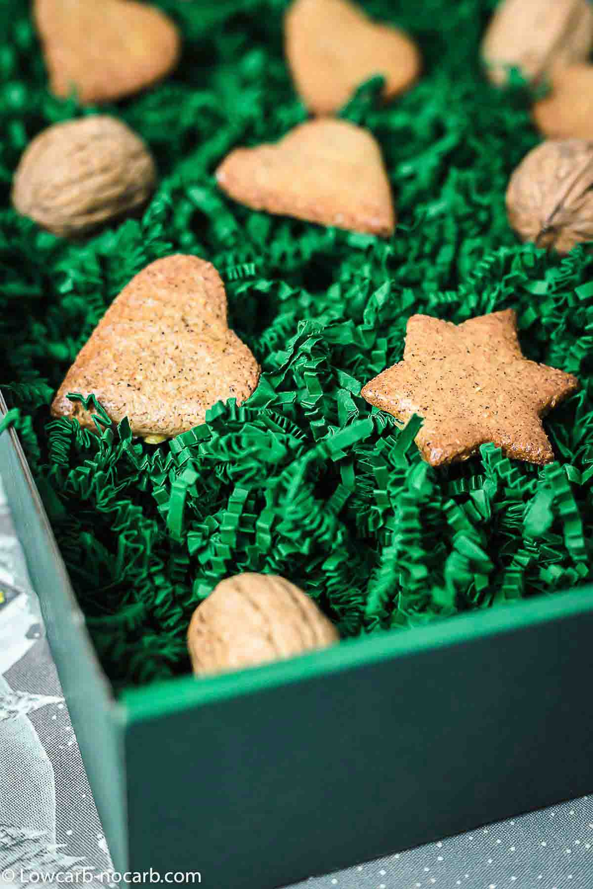 Keto Cookies in a green Christmas Box