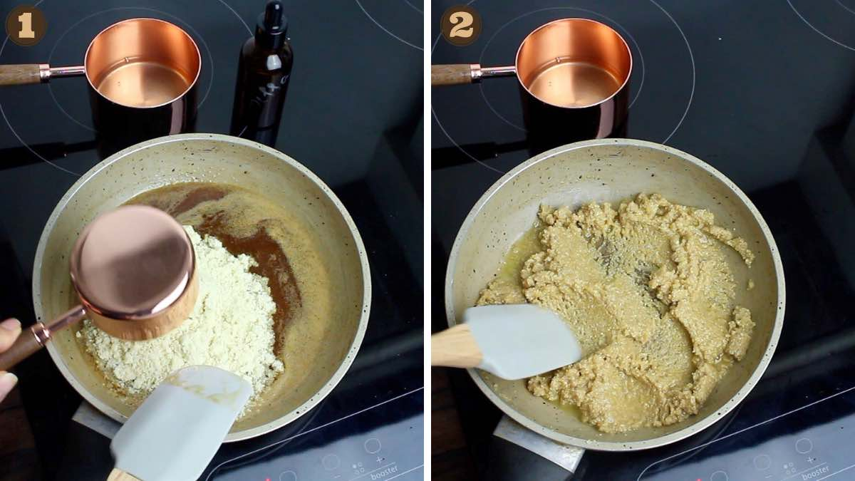 Adding Almond Flour into the cooking Pot for Making Keto Butter Cookies