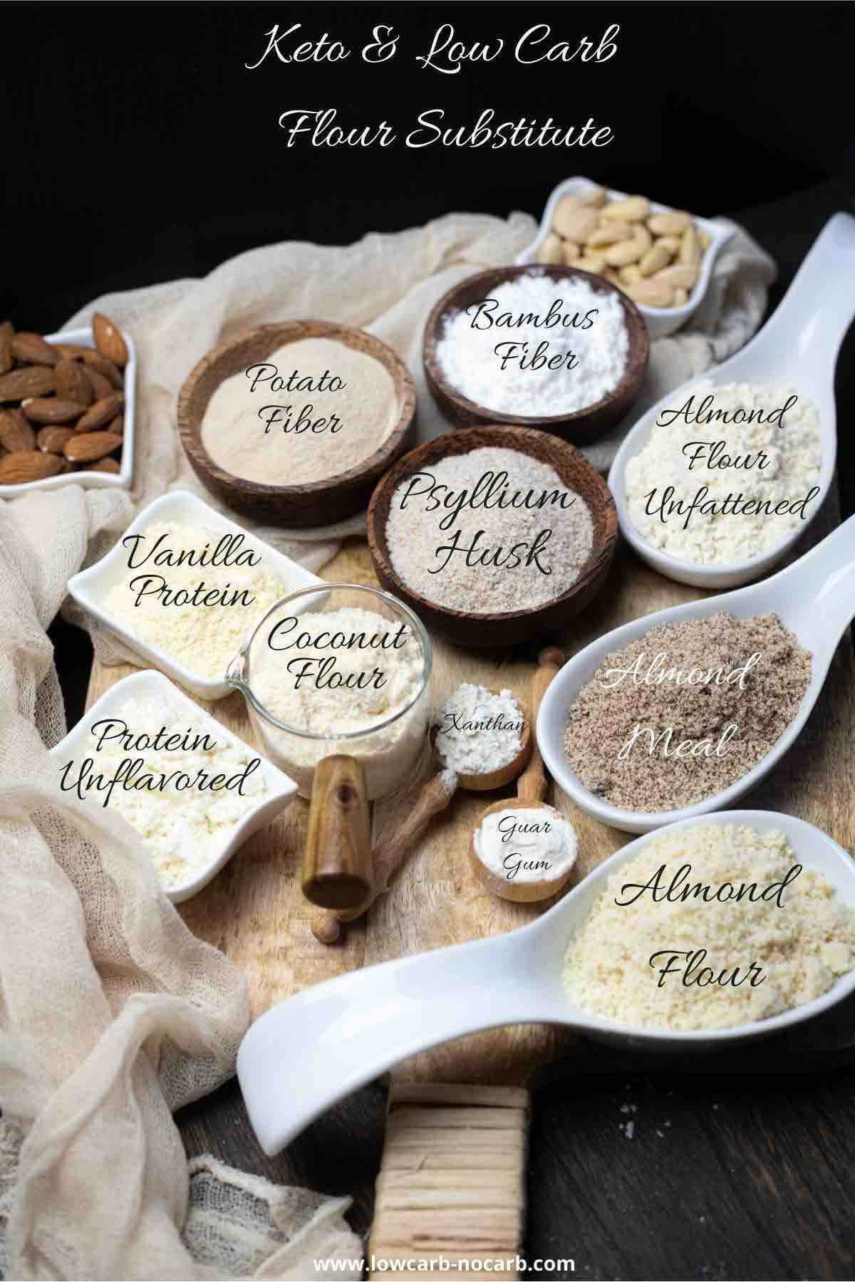 Various Keto and Low Carb Flour Alternatives in a bowls to compare