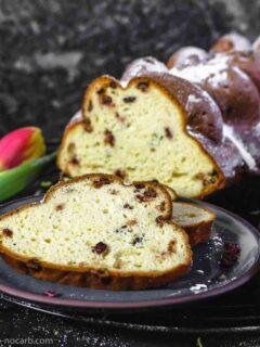 Keto Breakfast Challah Bread cut on a plate
