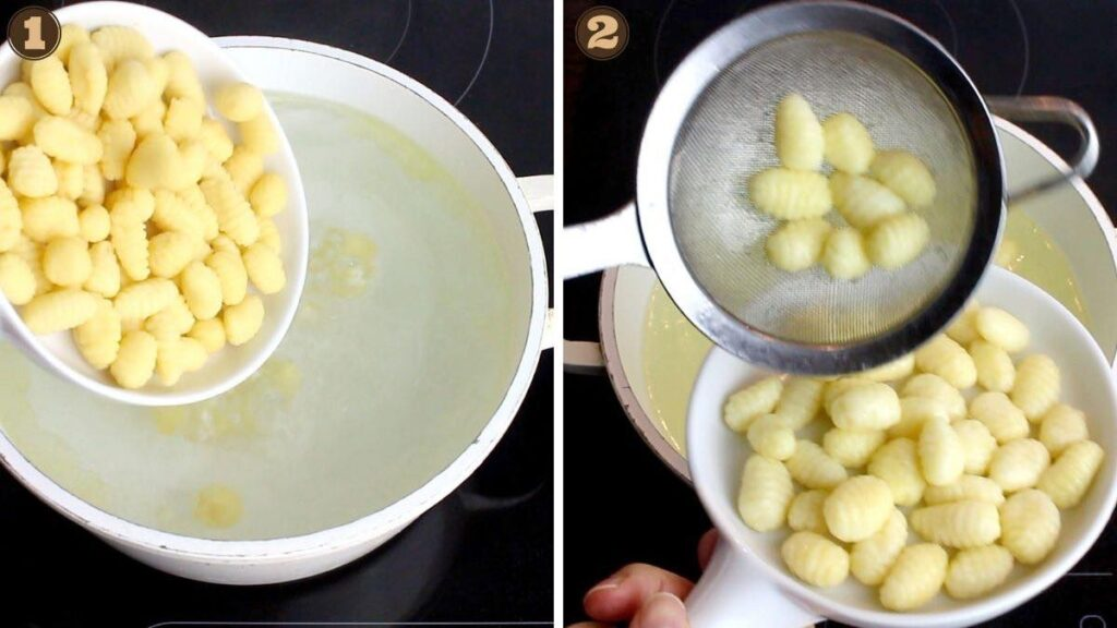 Homemade Keto Spinach Gnocchi cooked in the water