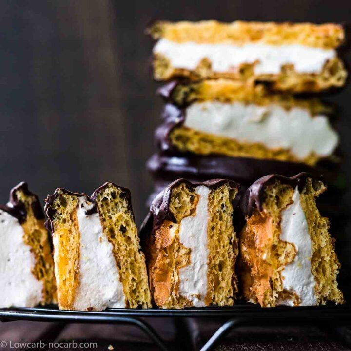 Smores Chaffle cut into pieces with meringue filling seen