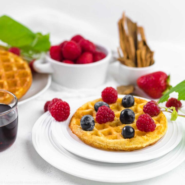 Chaffle Keto Waffle breakfast on a white plate with berries