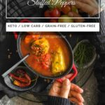Low Carb Stuffed Peppers ready to serve in a red casserole
