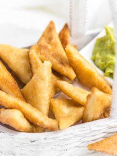 Keto Flour Tortilla Chips in a white basket
