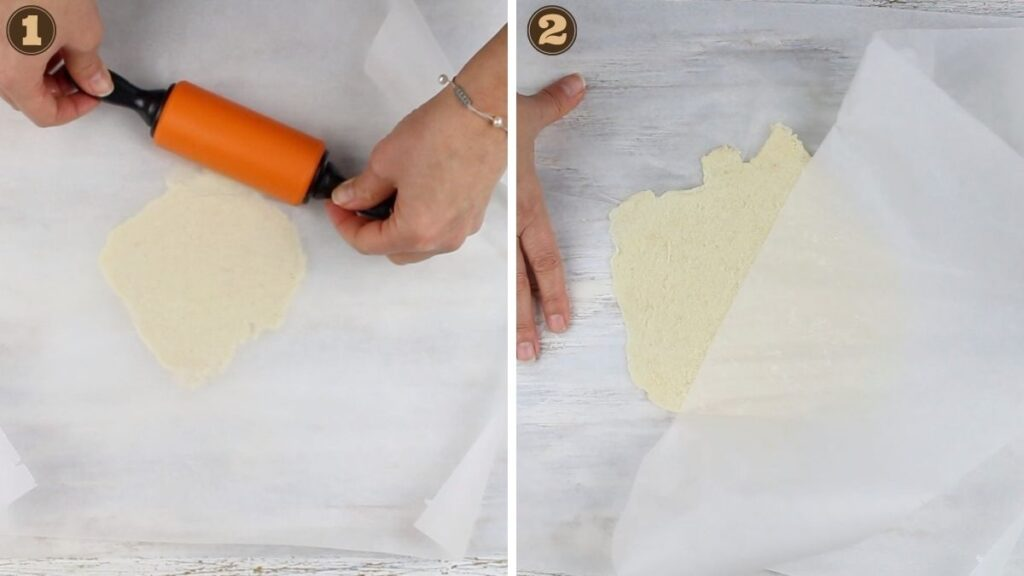 Homemade Keto Tortilla Chips rolling the dough between parchment paper