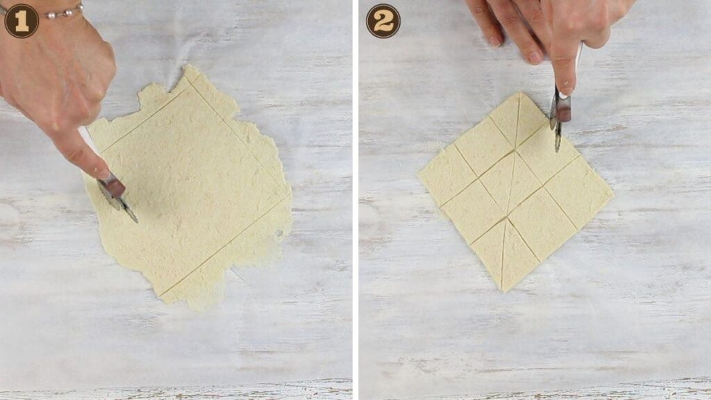 Keto Tortilla Chips Recipe cutting the dough into triangles
