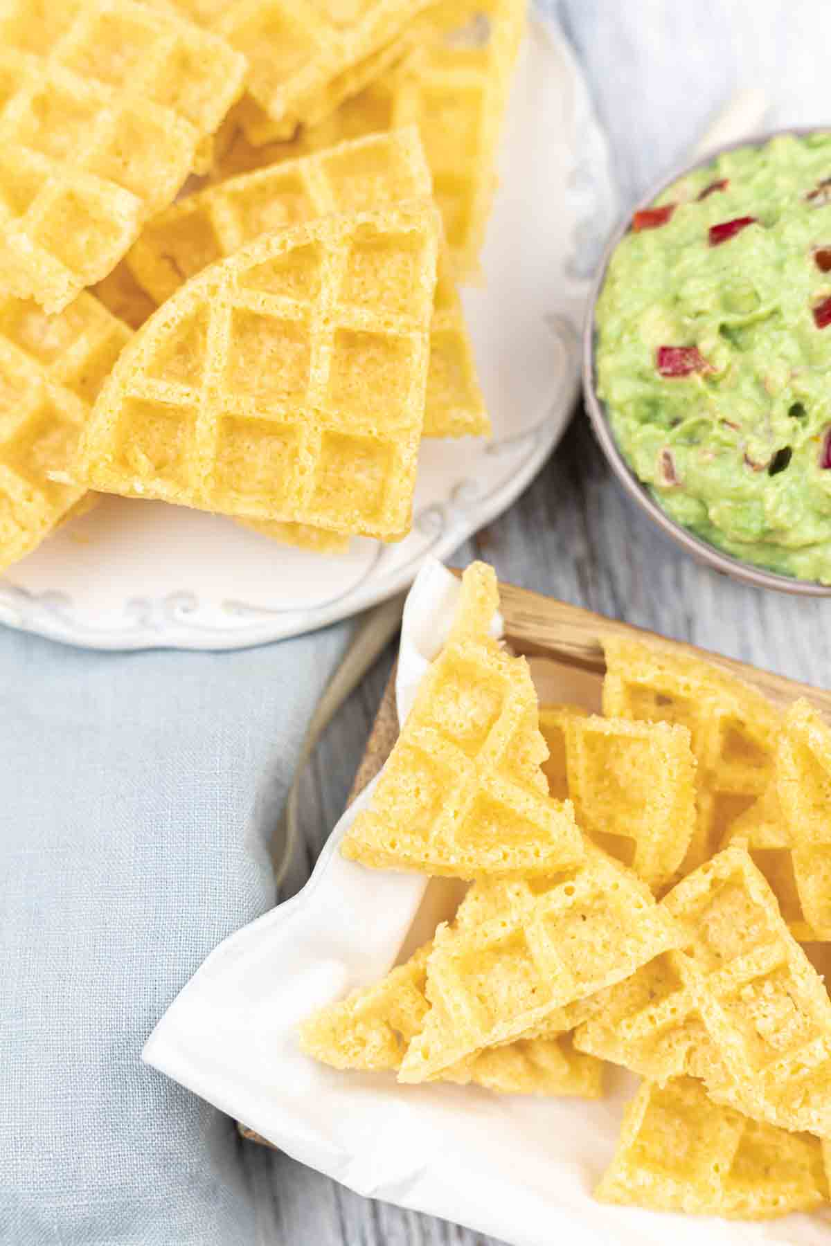 Super Easy Keto Crisps served with guacamole