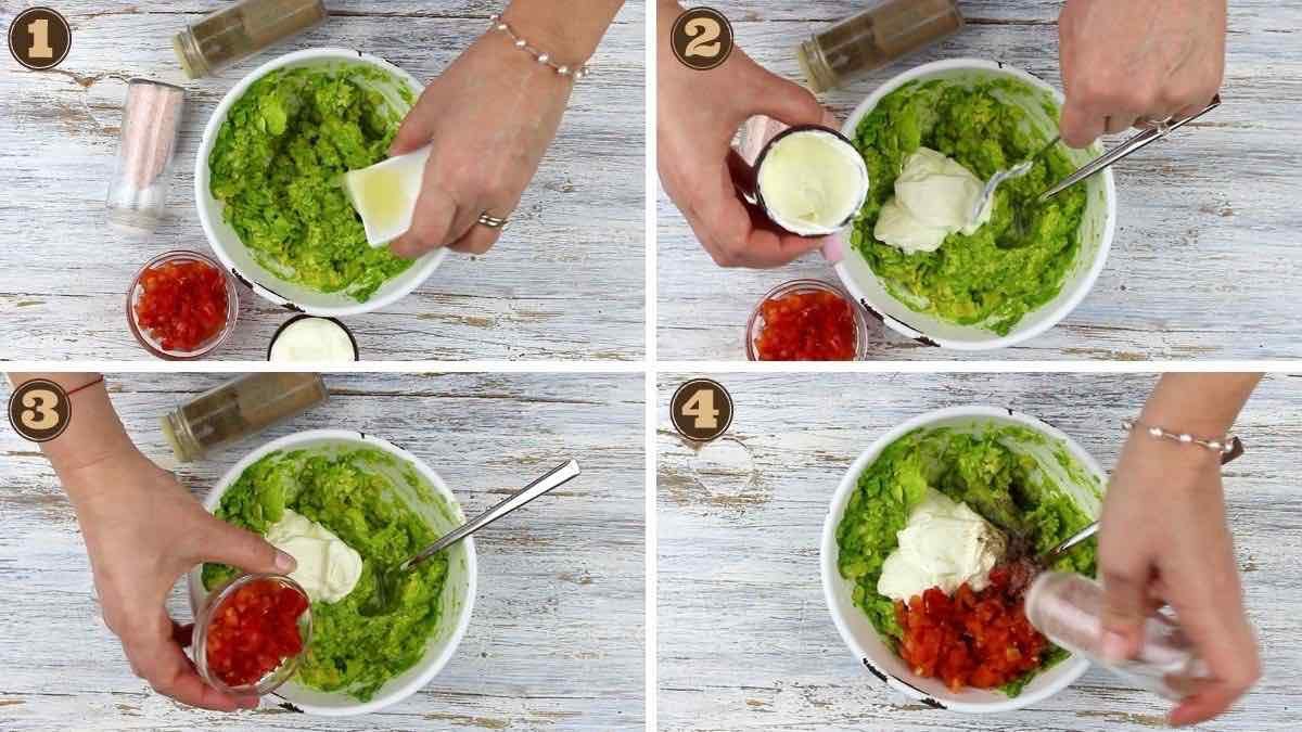 The Best Keto Guacamole adding all ingredients into the bowl