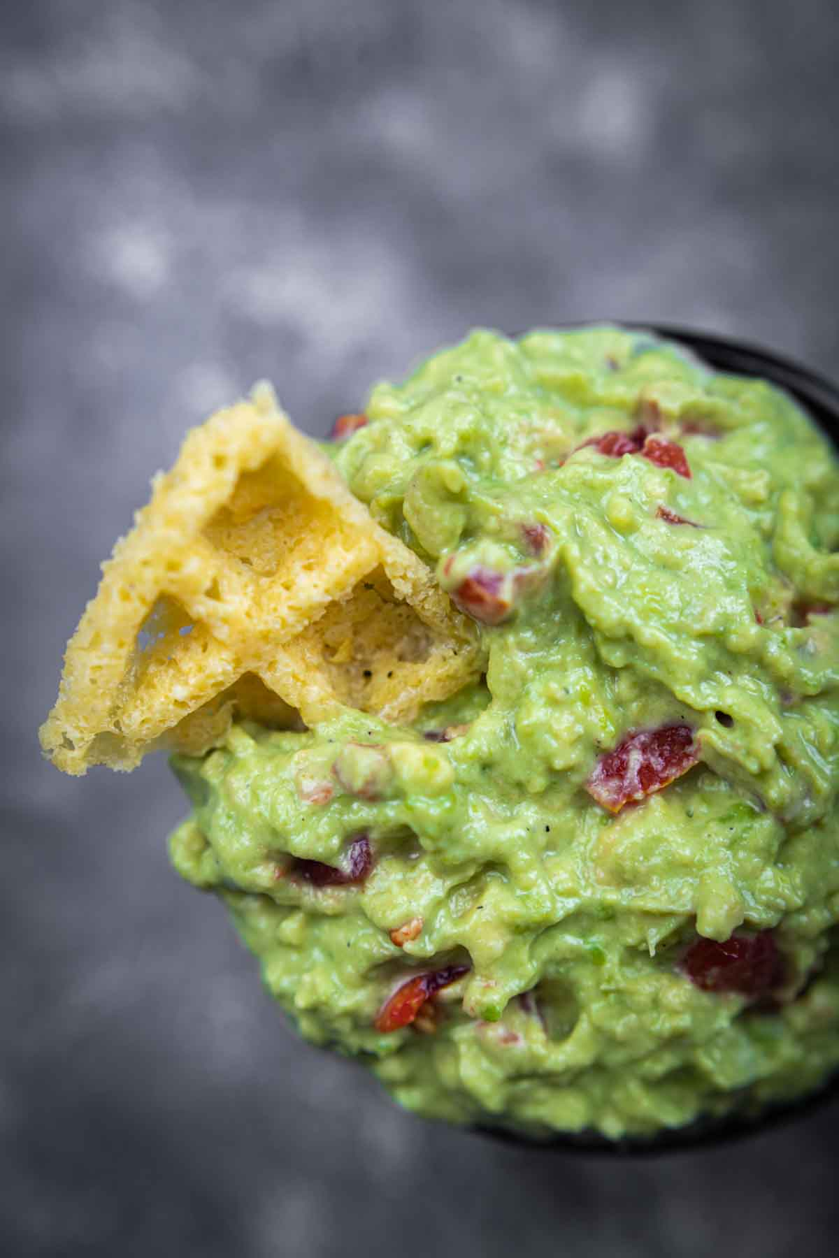 The Best Keto Guacamole with crunch Chaffle chips in