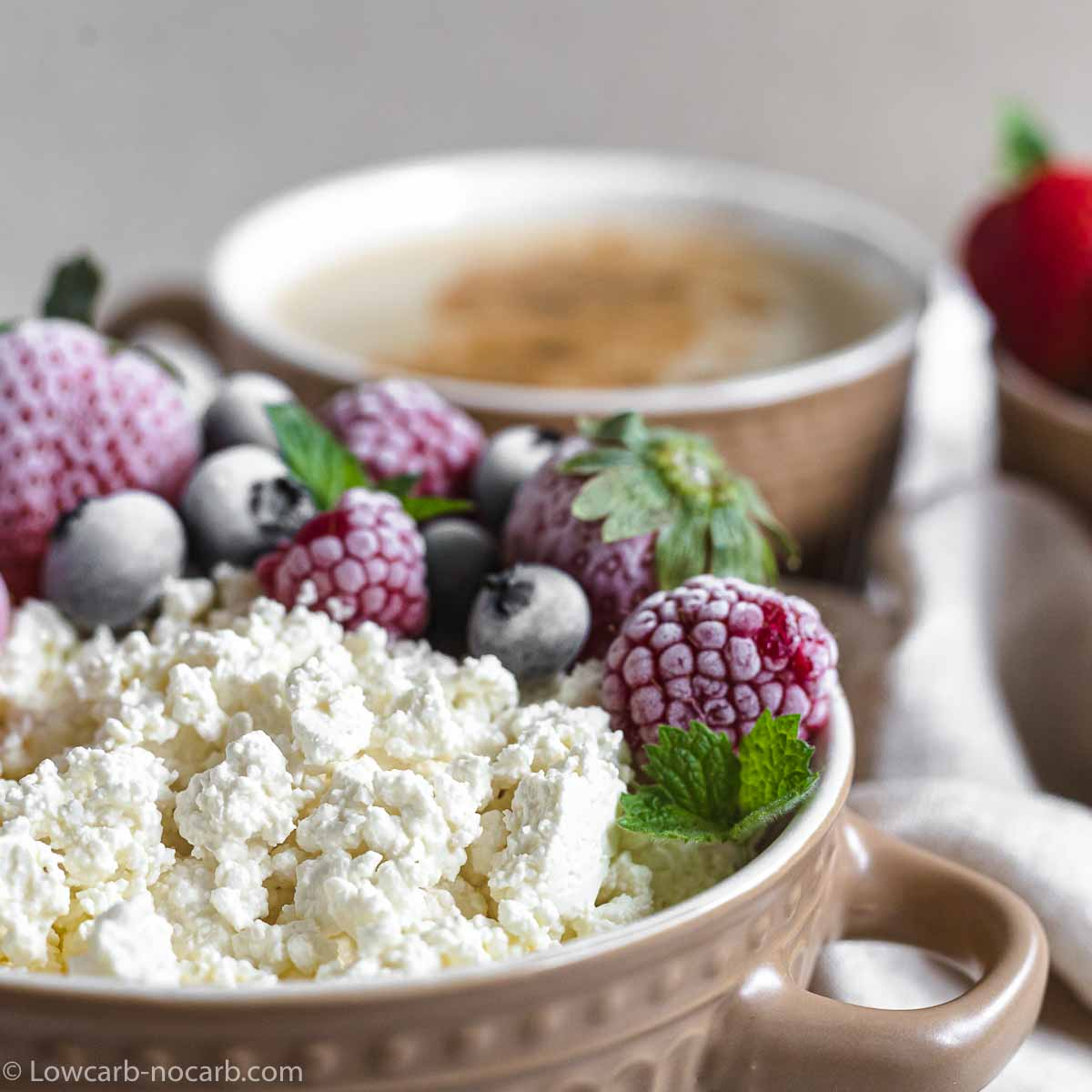 Curd Cheese made at home with berries on top for breakfast