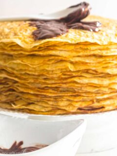Keto Crepes with Sugar-Free Nutella on top