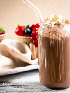Keto hot cocoa mix for breakfast in a glass