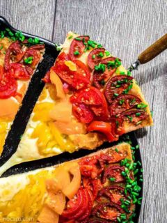 Low Carb Rainbow Pizza with piece to be served