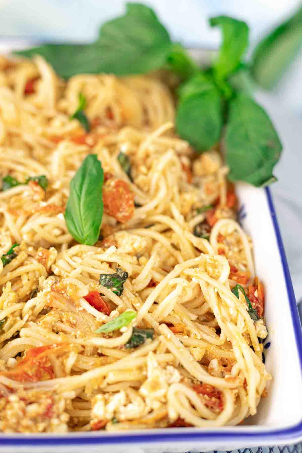 Keto Palmini Baked Feta Noodles Recipe in a casserole