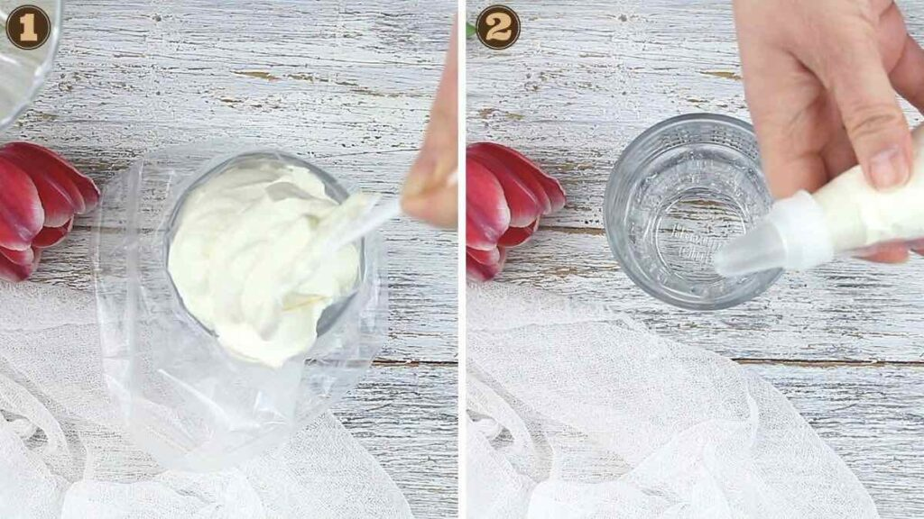 How To Make Sugar-Free Keto Whipped Cream filling up the piping bag