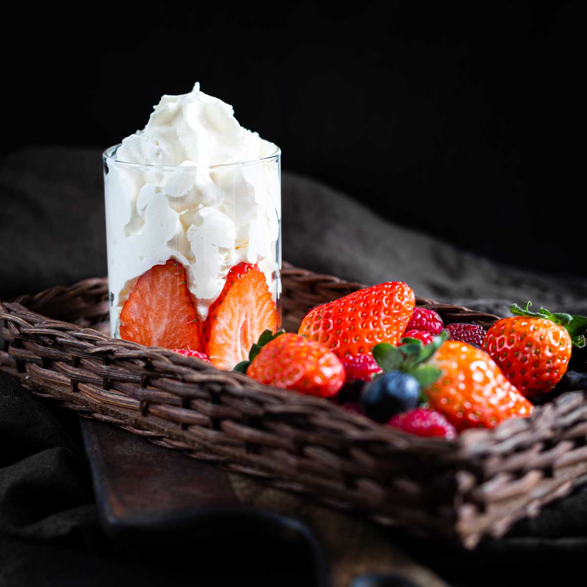 Whipped Cream Without Sugar with berries in a basket