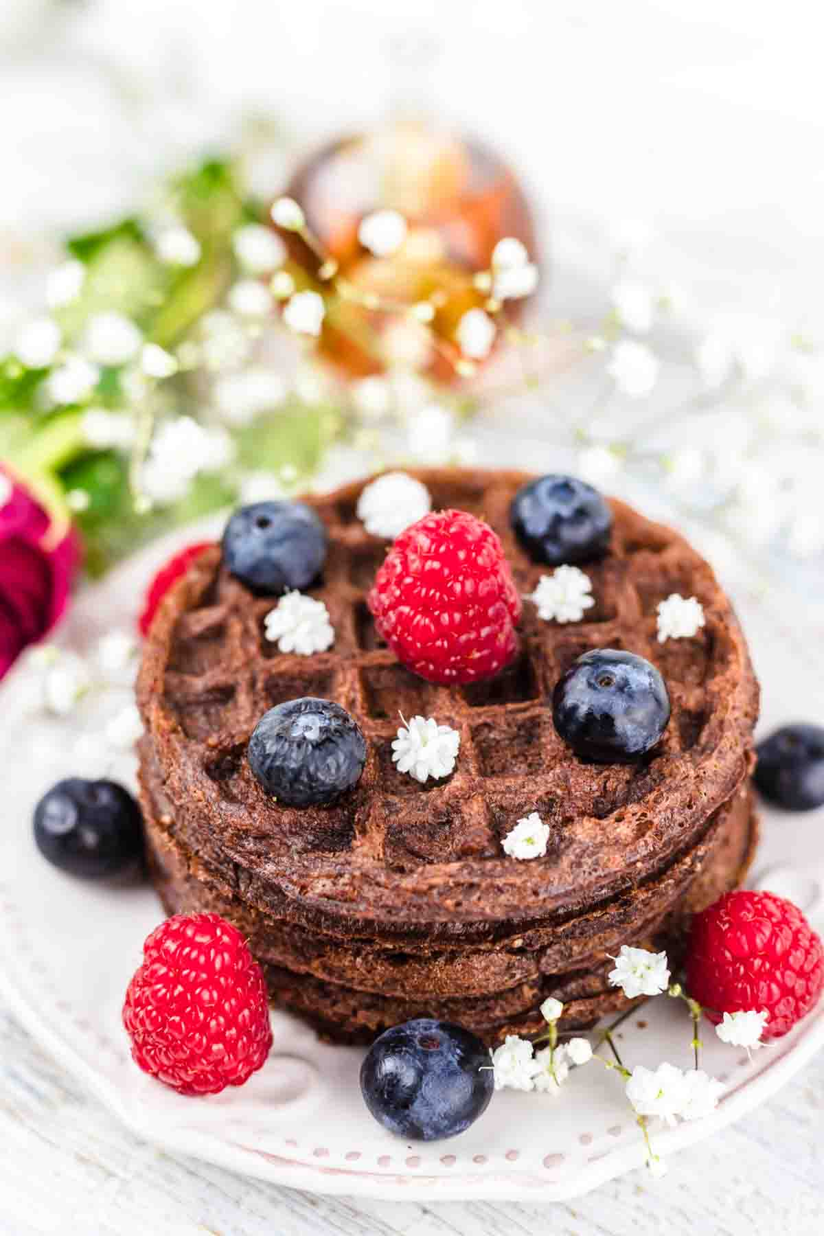 Best Chocolate Chaffle with raspberries and blueberries