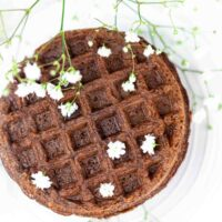 Best Chocolate Chaffle close up with edible flowers