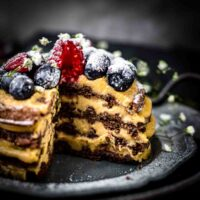 Chocolate Chaffle Cake with Peanut Butter Mousse cut from inside