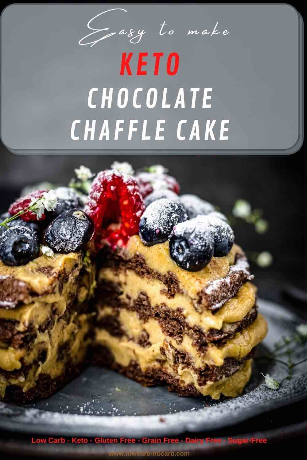 Keto Chocolate Waffle Cake cut and seen from inside the cake
