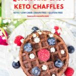 Almond Flour Chocolate Chaffle with berries on a white plate