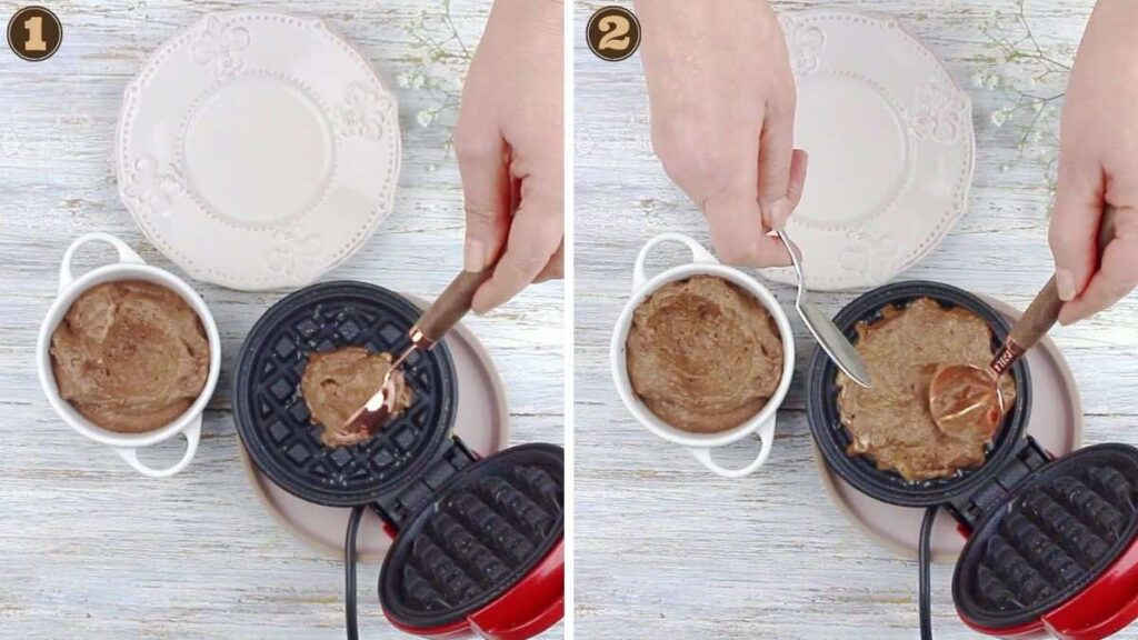 Easy Chocolate Chaffle Recipe outing the mixture onto the waffle maker
