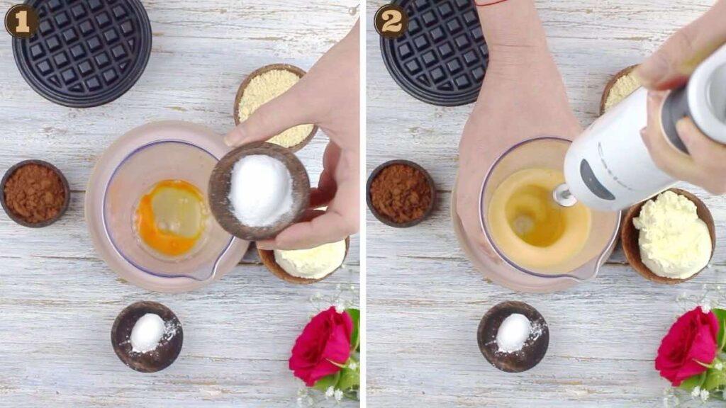Keto Chocolate Chaffle whisking egg with sweetener